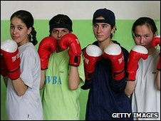 Afghan girls' boxing team