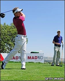 Luke Donald (left) triumphed over Rhys Davies (right) in last week's duel in the sun in Madrid