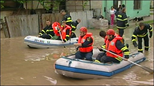 Rescuers in inflatable boats