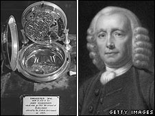 John Harrison next to one of his marine chronometers