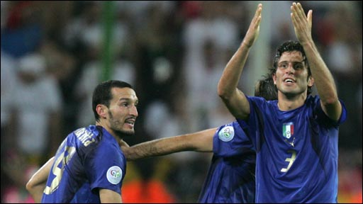 Italy knock out hosts Germany in World Cup 2006, with two late goals in extra time from Fabio Grosso and Alessandro del Piero