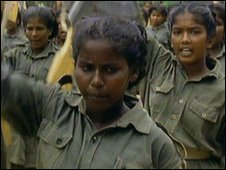 Tamil child soldiers marching