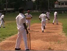 Tamil children playing cricket