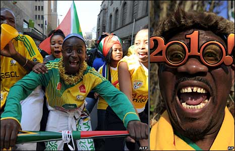 ANC revellers in Johannesburg (left, AFP), a Bafana Bafana fan in 2010 glasses (right, AP)