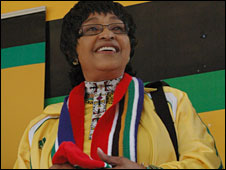 Winnie Mandela speaking to the crowds in central Johannesburg on Friday 4 June.