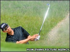 Anthony Kang in action at the Celtic Manor Wales Open