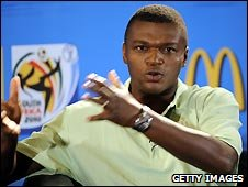 Former French international footballer Marcel Desailly at a World Cup promotional event for McDonald's
