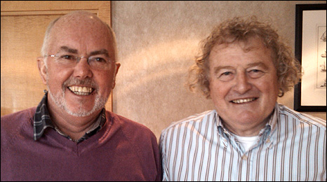 Chick Young with former Celtic manager Wim Jansen