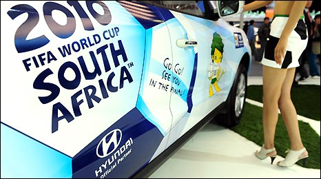 A Hyundai Santa Fe car, decorated for this summer's football World Cup