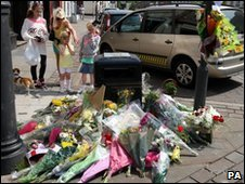 Floral tributes in Whitehaven