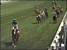 Shergar wins the Derby in 1981