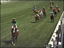 Shergar wins the Derby in 1981