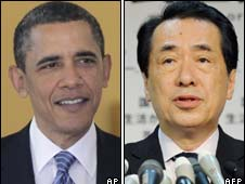 Barack Obama (L) and Naoto Kan