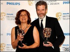 Rebecca Front and Peter Capaldi with their awards