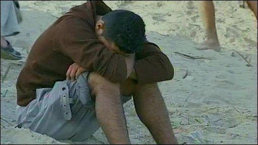 Palestinian on beach