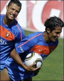 Cristiano Ronaldo with Portugal team-mate Bruno Alves