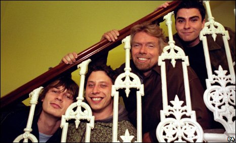 Stereophonics - Stuart Cable second left - with Richard Branson in 1996