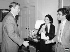 President Reagan with Helen Thomas
