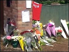 Floral tributes at Stuart Cable's home