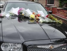 Floral tributes left on Stuart Cable's car