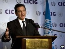 Carlos Castresana announces his resignation at a news conference in Guatemala City
