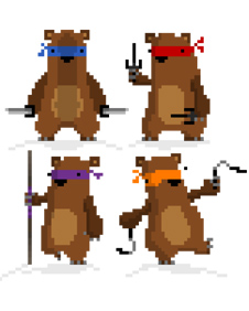 Simon Cottee&#039;s pixellated ninja bears