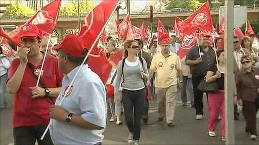 Spanish state workers on strike