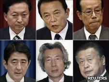 Former Japanese prime ministers since 2000; (top row L-R) Yukio Hatoyama (2009-2010), Taro Aso (2008 - 2009), Yasuo Fukuda (2007 - 2008), (bottom row L-R) Shinzo Abe (2006 - 2007), Junichiro Koizumi (2001 - 2006) and Yoshiro Mori (2000 - 2001)