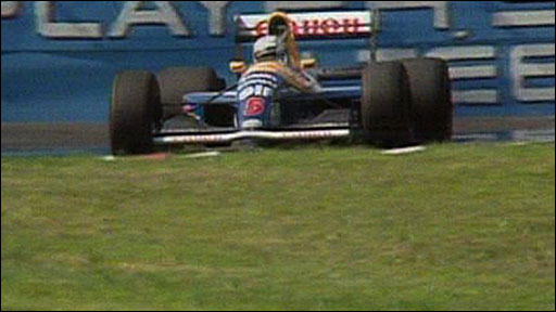 Nigel Mansell slows down on the final lap of the 1991 Canadian GP