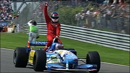 Michael Schumacher gives Jean Alesi a lift back to the pits