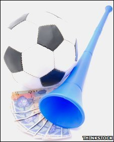 Party image featuring a football, vuvuzela and South African bank notes