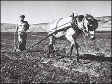 Ploughing on Kibbutz Degania Bet in 1945 in what was then the British Mandate of Palestine