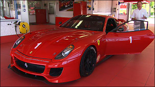 Martin Brundle prepares to take the Ferrari 599XX round Fiorano