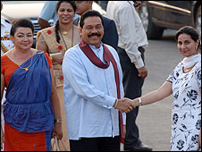 President Rajapaksa and his wife are greeted in Delhi by Praneet Kaur, Indian state minister of external affairs
