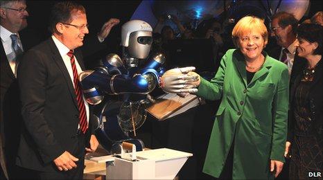 Prof Woerner and Angela Merkel at ILA2010