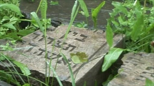 Neglected graves in Polish Jewish cemetery