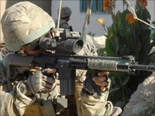 Cpl Tony Galacki using a Sharpshooter Rifle in Sangin, Helmand