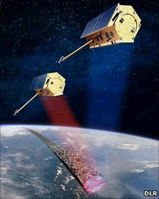 Artist&#039;s view of Tandem-X and Terrasar-X in orbit together (DLR)