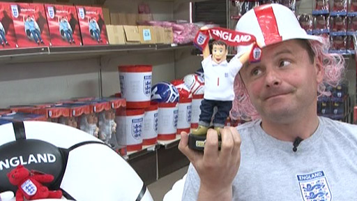 Chris Hollins and England merchandise