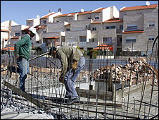 Construction work at a Jewish settlement