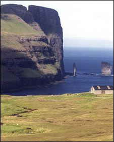 Risin and Kellingin sea stacks off the coast of the northern island of Eysturoy