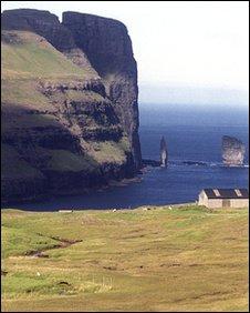 Risin and Kellingin sea stacks off the coast of the northern island of Eysturoy