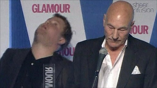 James Corden and Sir Patrick Stewart