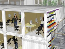 Artist impression of shipping container offices