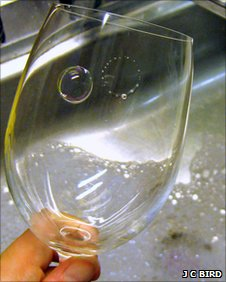 Bubbles on a wine glass (James C. Bird)