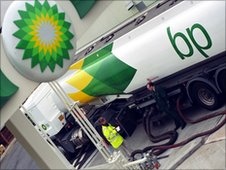 Oil tanker at BP petrol station