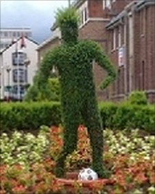 Foliage in shape of footballer