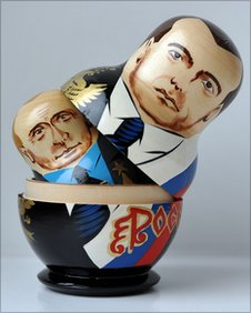 Russian matryoshka dolls depicting current Russian President Dmitry Medvedev and former President and current Prime Minister Vladimir Putin