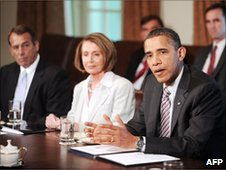 Barack Obama (right) in talks with congressional leaders including<br /> Nancy Pelosi, 10 June