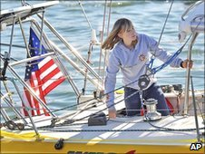 Abby Sunderland looks out from her boat. Photo: January 2010